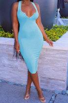 Blue Women Trendy Pure Color Sexy Mini Dress MA6710-4
