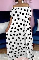 White Chiffon Wave Point Printing Bohemia A Word Shoulder Beach Loose Long Dress Have Pocket QY5077-1