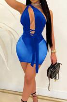 Royal Blue Euramerican Sexy Net Yarn Perspctive Slim Fitting Dress A8609-3