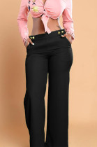 Black Casual personality Or So Symmetry Four Grain Buckle Flare Long Pants Have Pocket LS6026-2