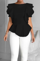 Black Summer Maiden Wind Flounce Hem Spliced Short Sleeve Tops QY5073-2