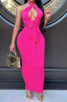 Rose Red Halter Neck Backless Slim Fitting Long Dress WJ5226-2