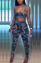 Navy Blue Fashion Printing Sling Boob Tube Top Long Pants Two Piece NYZ6025-2