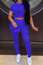 Blue Women Short Sleeve Knitting Hole Pants Sets YF9173-5