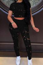 Black Women Short Sleeve Knitting Hole Pants Sets YF9173-3