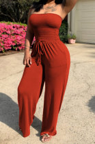Red Women Pure Color Boob Tube Top Wide Leg Jumpsuits AD0605-2