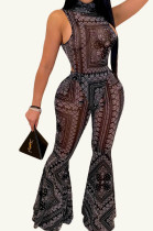 Black Fashion Casual Totem Printing Flare Pant Two Piece H1501-2