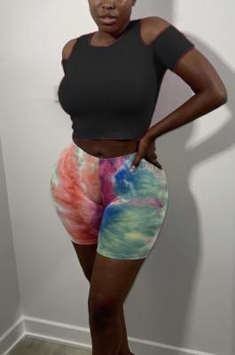 Black Off Shoulder Pure Color Casual Sports T Shirts SDE26123-1