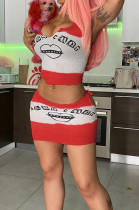 Red Color Matching Cute Letter Vest Short Skirts Two Piece MK057-2