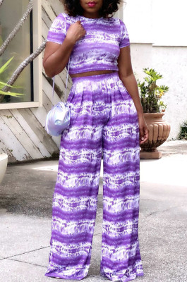 Purple Night Club Printing Short Sleeve Wide Leg Pant Sets X9315-3