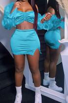 Light Blue Strapless Puff Sleeve Ruffle Lace Fashion Sexy Two Piece SZS8073-1