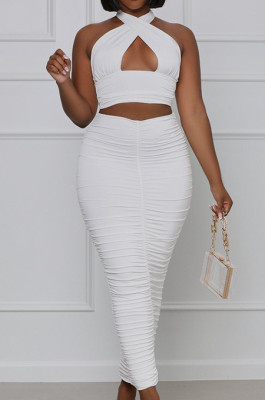 White Fashion Sexy Tops Hollow Out Strapless Fold Skirts Sets WY6819-1