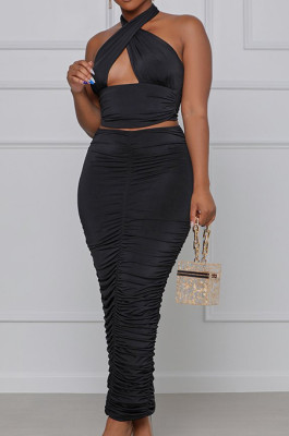 Black Fashion Sexy Tops Hollow Out Strapless Fold Skirts Sets WY6819-2