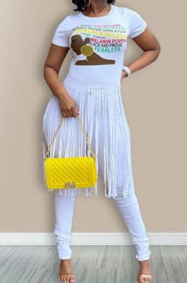 White Euramerican Women Pure Color Tassel Printing Trendy Blouse LW8872-1