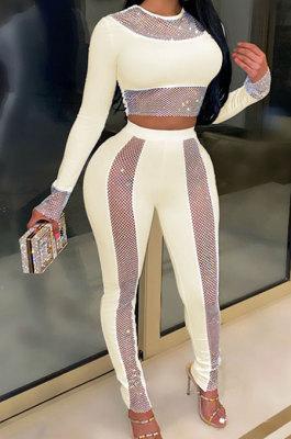 Apricot High Waist Pure Color Long Sleeve Pants Sets YF9084-6