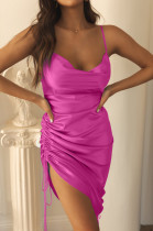 Rose Red Condole Belt Package Buttocks Dress X9312-5