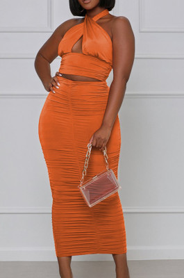 Orange Red Fashion Sexy Tops Hollow Out Strapless Fold Skirts Sets WY6819-5