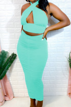 Light Blue Fashion Sexy Tops Hollow Out Strapless Fold Skirts Sets WY6819-6