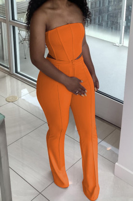 Orange Euramerican Sexy Tops Strapless Back With Zipper Long Pant Sets WY6820-2