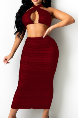 Wine Red Cross Fold Perspective Sexy Halter Neck Strapless Long Skirts Sets QZ4350-2