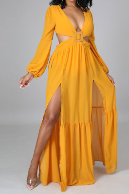 Yellow Long Sleeve Mid Waist Sexy Zipper Pure Color Long Dress YF9105-1