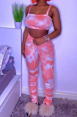 Pink Red Fashion Print Condole Belt Casual Sports Sets QC36227