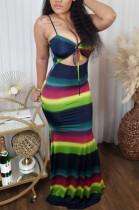 Colorful Stripe Condole Belt Fashion Sexy Bobycon Dress SXS6063