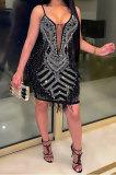 Black Hot Drilling Mid Waist Polyester Mesh Condole Belt Mini Dress YF9095-1