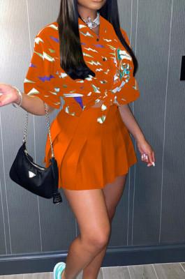 Orange Print Loose Button Shirts Peleated Skirts Sets SZS8120-4