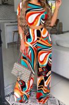 Orange Print T Shirt Wide Leg Pants Fashion Casual Two Piece SXS6060-2