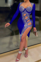 Blue Mid Waist Hot Drilling Pure Color Sexy Polyester Mesh Long Sleeve Mini Dress YF9104-5