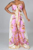 Pink Milk Silk Printing Sleeveless Strapless Sexy Pants Sets YF9082-3