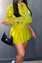 Yellow Print Loose Button Shirts Peleated Skirts Sets SZS8120-3