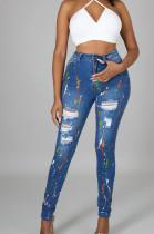 Dark Blue Fashion Colorful Hole Jean Pencil Pants QZ5318-2
