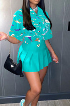 Lake Blue Print Loose Button Shirts Peleated Skirts Sets SZS8120-1