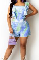 Blue Digital Print Stringy Selvedge Bind Fashion Sexy Romper Shorts SZS8134-1