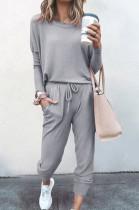 Grey Pure Color Long Sleeve T Shirt Long Pants Casual Sports Sets X9320-4