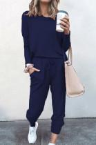 Navy Blue Pure Color Long Sleeve T Shirt Long Pants Casual Sports Sets X9320-6