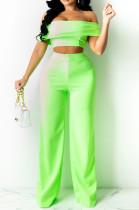 Neon Green A Word Shoulder Strapless Zipper Wide Leg Pants Fashion Sets SZS8133-1