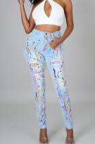 Light Blue Fashion Colorful Hole Jean Pencil Pants QZ5318-1