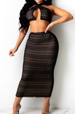 Black Cross Fold Perspective Sexy Halter Neck Strapless Long Skirts Sets QZ4350-1