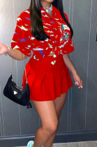 Red Print Loose Button Shirts Peleated Skirts Sets SZS8120-5