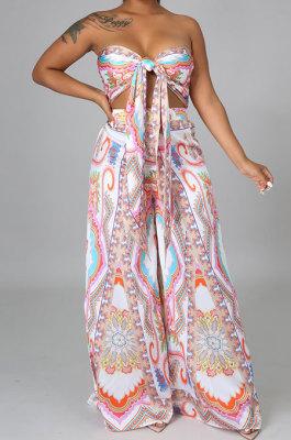 White Milk Silk Printing Sleeveless Strapless Sexy Pants Sets YF9082-2