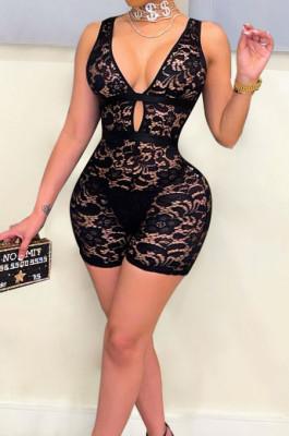 Black Bud Silk Deep V Sleeveless Romper Shorts QZ4349