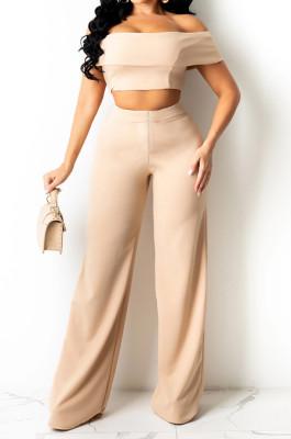 Khaki A Word Shoulder Strapless Zipper Wide Leg Pants Fashion Sets SZS8133-4