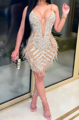 Apricot Hot Drilling Mid Waist Polyester Mesh Condole Belt Mini Dress YF9095-2