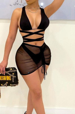 Black Hollow Out Strapless Hip Skirt Drawshing Swimsuits Bikini Three Piece SZS8130-4