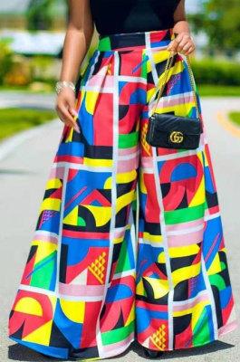 Casual Fashion Print High Waist Wide-Legged Pants SDE3109-2