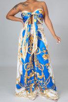 Color Blue Milk Silk Printing Sleeveless Strapless Sexy Pants Sets YF9082-7