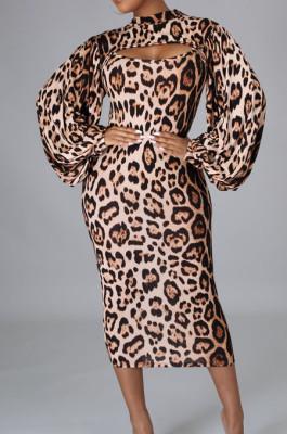 Leopard Print Autumn Long Sleeve Slim Fitting Bodycon Dress E8607